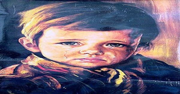 Crying boy haunted painting